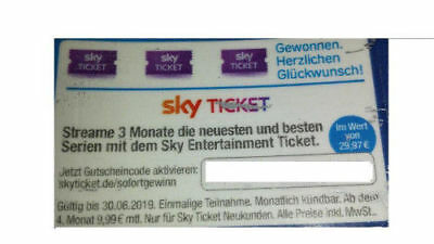 SKY Entertainment Ticket* Topp-Serien* 3 Monate gratis* Gutschein-Wert: rd. 30 €