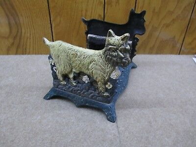 Antique Cast Iron Double SCOTTIE DOG Boot Scraper Door Stop Brushes Wood Tray