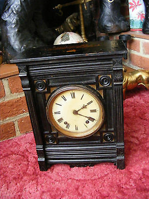 Antique Vintage Winterhalder & Hofmeier W & H SCH 1 Mantel Clock in Wooden Case