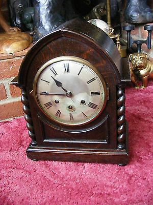 Antique Quarter Chime Gustav Becker Medaille Mantle Mantel Clock in Wooden Case