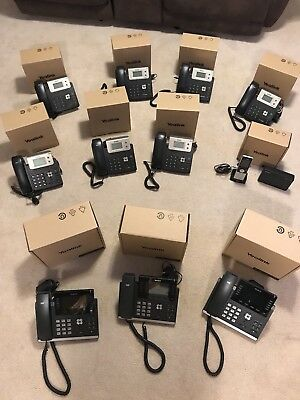 Lot of 11 Yealink Phones: 3 SIP-T46S, 7 Enterprise SIP-T21PE2 & 1 DECT W56P