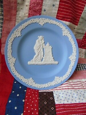 "Wedgwood Jasperware Blue and White 6 1/2"" Round Dish RARE Woman Fire Pedestal"