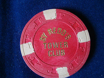 Vintage Collectible Sy Redd's Tower Club $5 Casino Poker Chip
