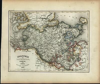 Holstein Lauenburg Hamburg Europe Germany Scandinavia Denmark 1851 detailed map