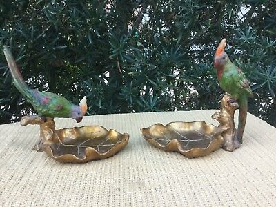 """Vintage Rare Green Cockatiel Figurines perched on tree and leaf shaped dish 7""""ea"""