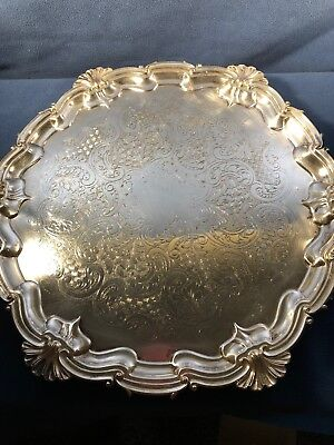 """Beautiful 14"""" Gorham Footed Tray Silver Plated Extremely Unique"""