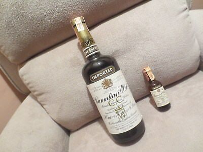 Two 1969 Canadian Club One Quart and mini 1/10 Pint 6 Year Old Whisky.Unopened