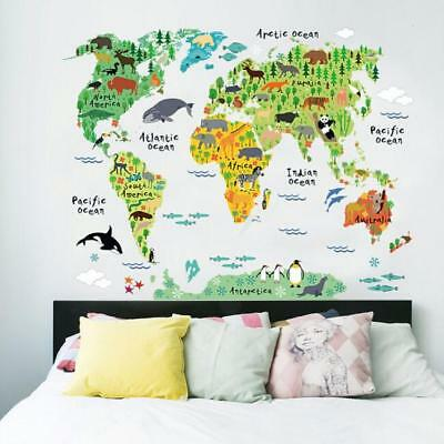 Animal World Map Removable Decal Art Mural Home Decor Wall Stickers Kids Gift L7