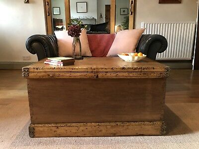Antique Victorian PINE Blanket CHEST, Old TRUNK, Coffee Table WOODEN Storage Box