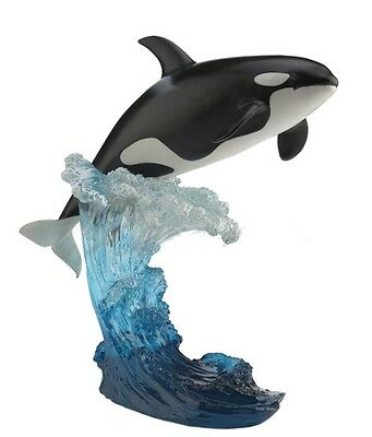 "11"" Leaping Orca Whale Statue Sculpture Nautical Home Decor Ocean Animal Shamu"