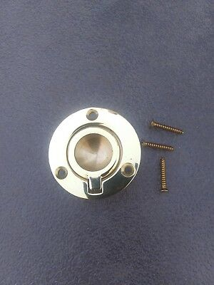 Vintage BALDWIN BRIGHT BRASS ROUND RING Pull Flush Mount Inset Type Solid Cast