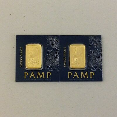 2x  PAMP Suisse 1g (gram) Fortuna gold bars