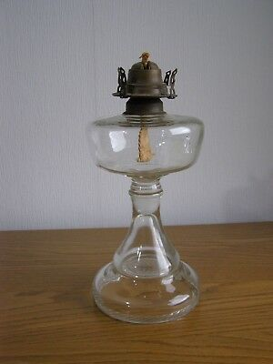 Vintage / antique glass oil lamp base - 12 ins high