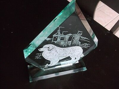 Great Pyrenees -New design, Hand engraved Glass Sculpture by Ingrid Jonsson.