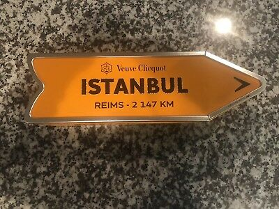 Veuve Clicquot Arrow Tin ISTANBUL Reims Champagne Journey Street Sign RARE