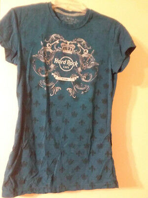 Hard Rock Cafe Rock Couture Women's SS Turquoise T-Shirt-NEW-NEVER WORN-Sz Large