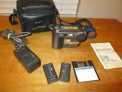 SONY MAVICA MVC-FD73 Digital Floppy Disk Camera Batteries & Charger TESTED/WORKS