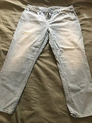 "Gap 1969 Light Blue Distressed Women's jeans Pants 34 "" Plus Size New With Tags"