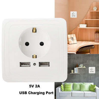 New! EU Plug 2A Dual USB Port Outlet Power Charger Wall Socket with Dual Switch-