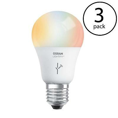 Sylvania Osram Lightify 60W A19 dimmable White RGB Smart LED Light Bulb (3 Pack)
