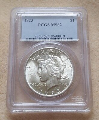1923 Peace Silver Dollar - PCGS MS 62 BU PQ FROSTY Blast White Luster