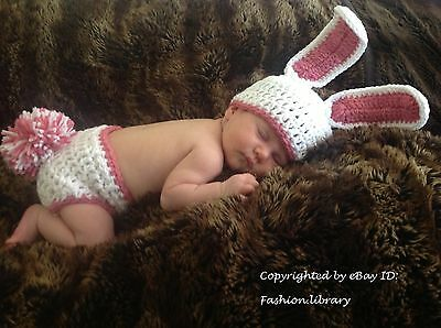 0-3 months Baby bunny costume boy Girl hat Photo Prop handmade crochet pom