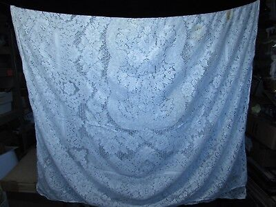"""Antique Large White Embroidered Lace Tablecloth 50X100"""" Some Staining"""