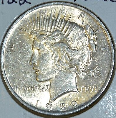 AU 1922 Peace Silver Dollar Almost Uncirculated