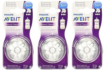 Philips AVENT BPA Free Natural Nipple Shape, Medium Flow 3m+, 2 Count (3 Pack)