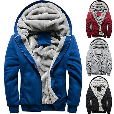 Men's Winter Hoodie Thick Fleece Lined Zip Up Coat Outwear Top Jacket Sweater