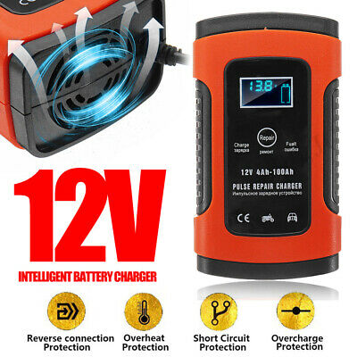 Automatic Smart Battery Charger Car Motorcycle Pulse Repair Charger LCD Display