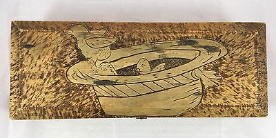 Antique Pyrography Burned Wood Easter Chicks In A Brimmed Hat Glove Vanity Box