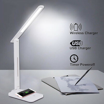 Folding Eye Protection LED Desk Lamp with Qi Wireless Desktop Charger USB Output