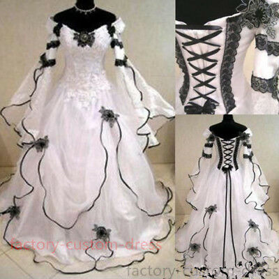Black And White Gothic Medieval Wedding Ball Gown Victorian