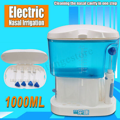 4xNozzles +Electric Nose Wash Cleaner Allergie Nasal Irrigation Sinus Rinse Neti