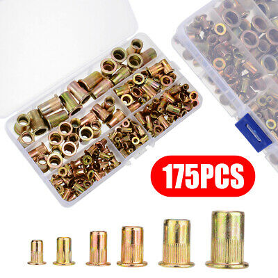 175pcs Set Rivet Nut Kit Mixed Zinc Steel Rivnut Insert Nutsert Threaded M3-M10