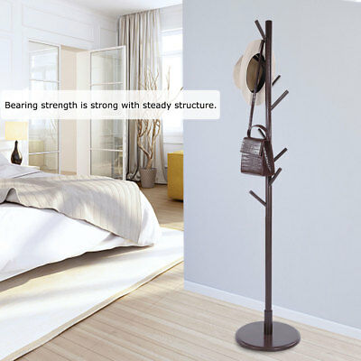 Coat Rack Tree Stand Hat Hanger Clothes Holder Hall Stand Umbrella Wood 8 Hooks