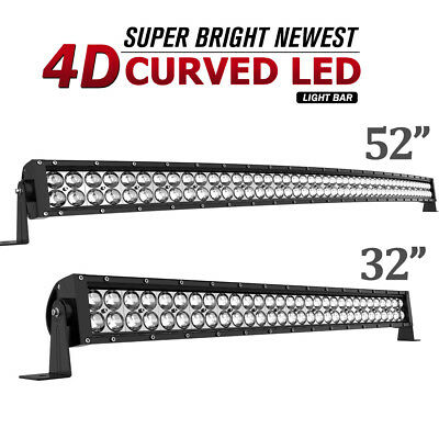 52Inch Curved +32in Straight LED Light Bars Boat Tractor SUV ATV Offroad Driving