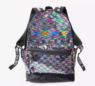 fcc00c92dd7 NEW Victoria s Secret PINK Campus Backpack Flip Sequin Bling Rainbow Full  Size