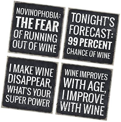 Vino Please VinoPlease 4 Wine Coasters - Wine Gifts Accessory for Any Wine Black