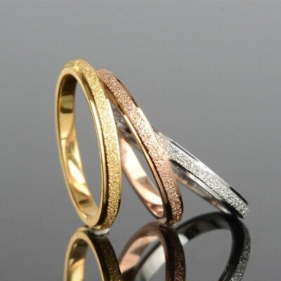 Stainless Steel Matte 2mm Thin Stackable Band Ring for Women Girl