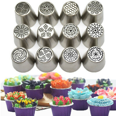 12Pcs Russian Icing Piping Nozzles Flower Cake Decorating Tips Pastry Tools CA