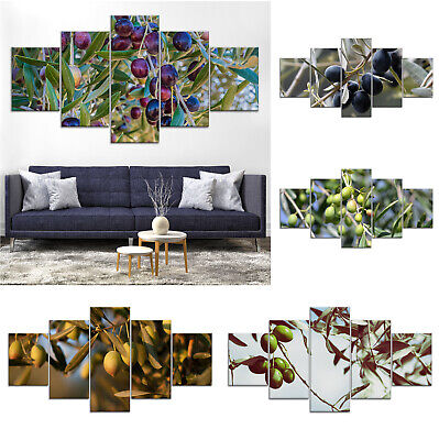 Olives Fruit Tree Canvas Print Painting Framed Home Decor Wall Art Poster 5Pcs