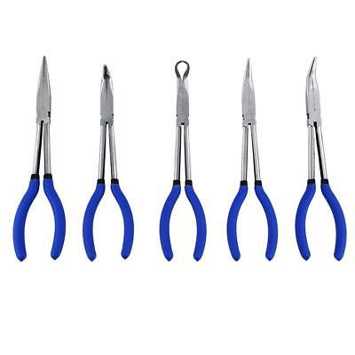 "5x 11"" Long Reach Nose Pliers Set Bent Tip Mechanics Hose Gripper Tool With Bag"