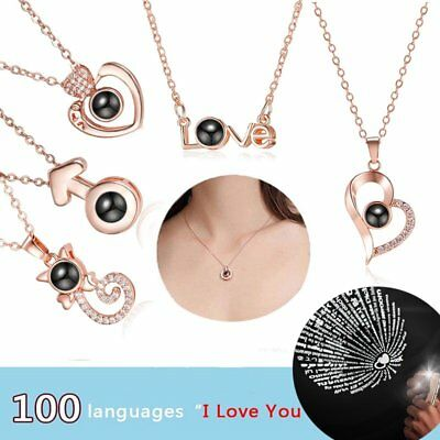 Projection I LOVE YOU in 100 languages Necklace Pendant Valentine's Day Gift