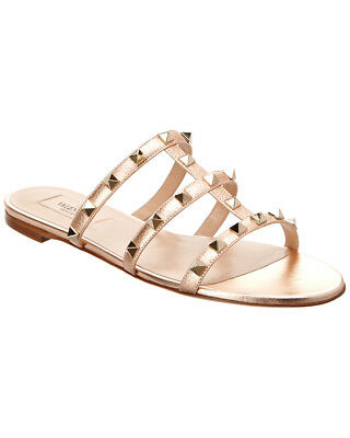 4c63f7bda4f8 VALENTINO ROCKSTUD FLAT Leather Slide Sandal Black -  325.00