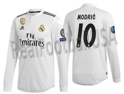 f756b3f250 Adidas Luka Modric Real Madrid Long Sleeve Authentic Ucl Home Jersey 2018 /19.