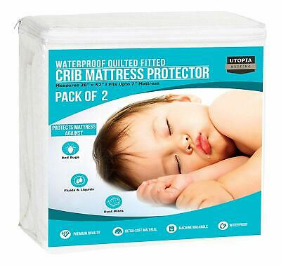 Waterproof Crib Mattress Protector Cover Hypoallergenic Quilted Utopia Bedding