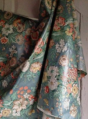 Vintage Blue Cotton Fabric French Chintz Decorative Textile Furnishing - 500 cm