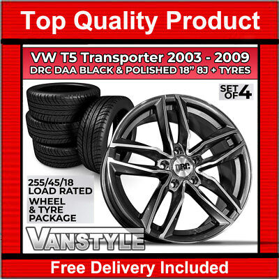 Vw T5 2003-09 Drc Daa 18 Inch 8J Load Rated Gloss Black & Polished Wheel & Tyre